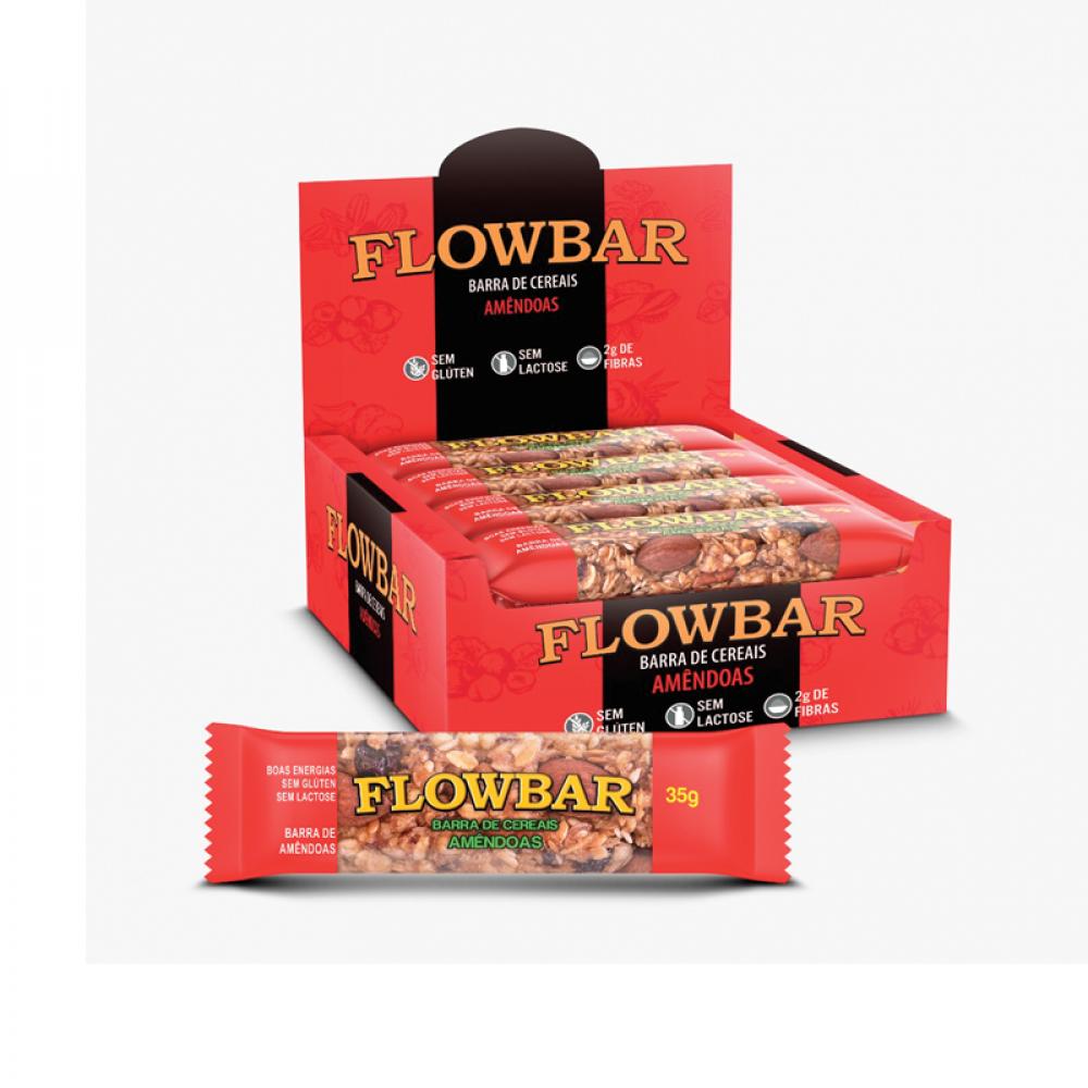 Barra de nuts flowbar amêndoas 30g caixa com 12